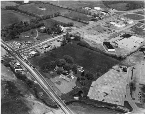 Aerial shot of Exton 1974 courtesy of The Guernsey Cow