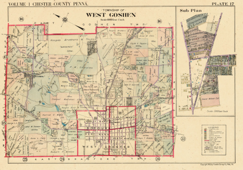 Pennsylvania, 1933, Plate 017 West Goshen Township, West Chester, Ludwig's Corner, Green Hill Station, Chester County