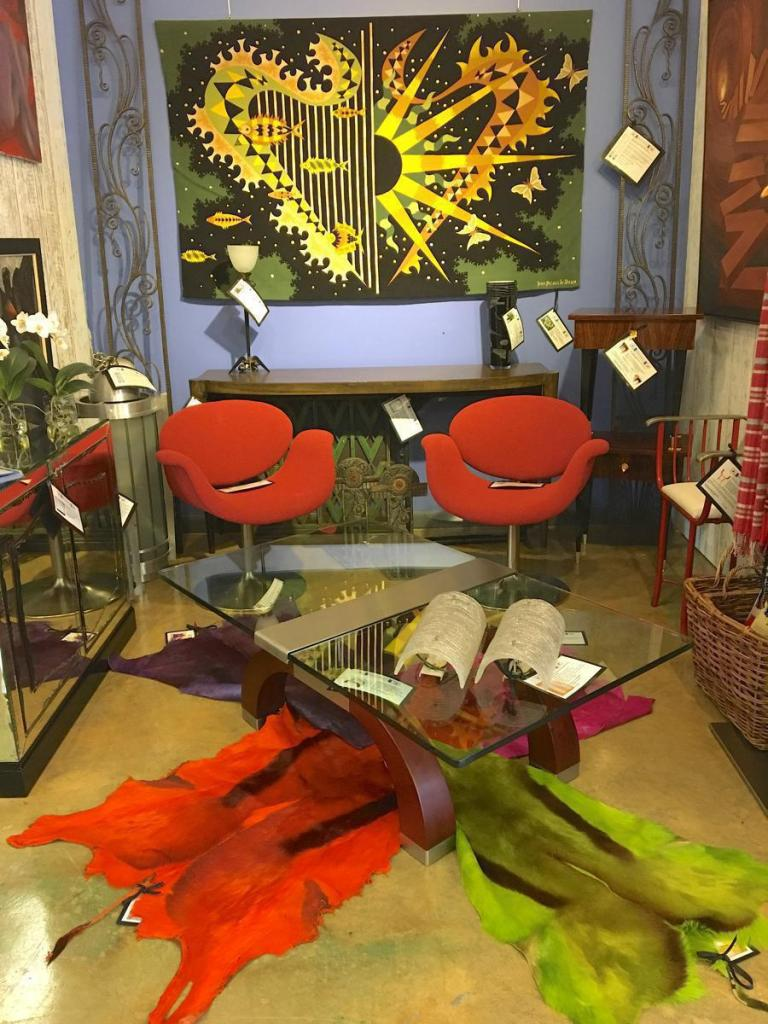 Retro red chairs colored fur rugs