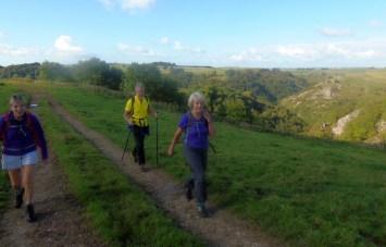 Margaret, David and Liz above Dovedale