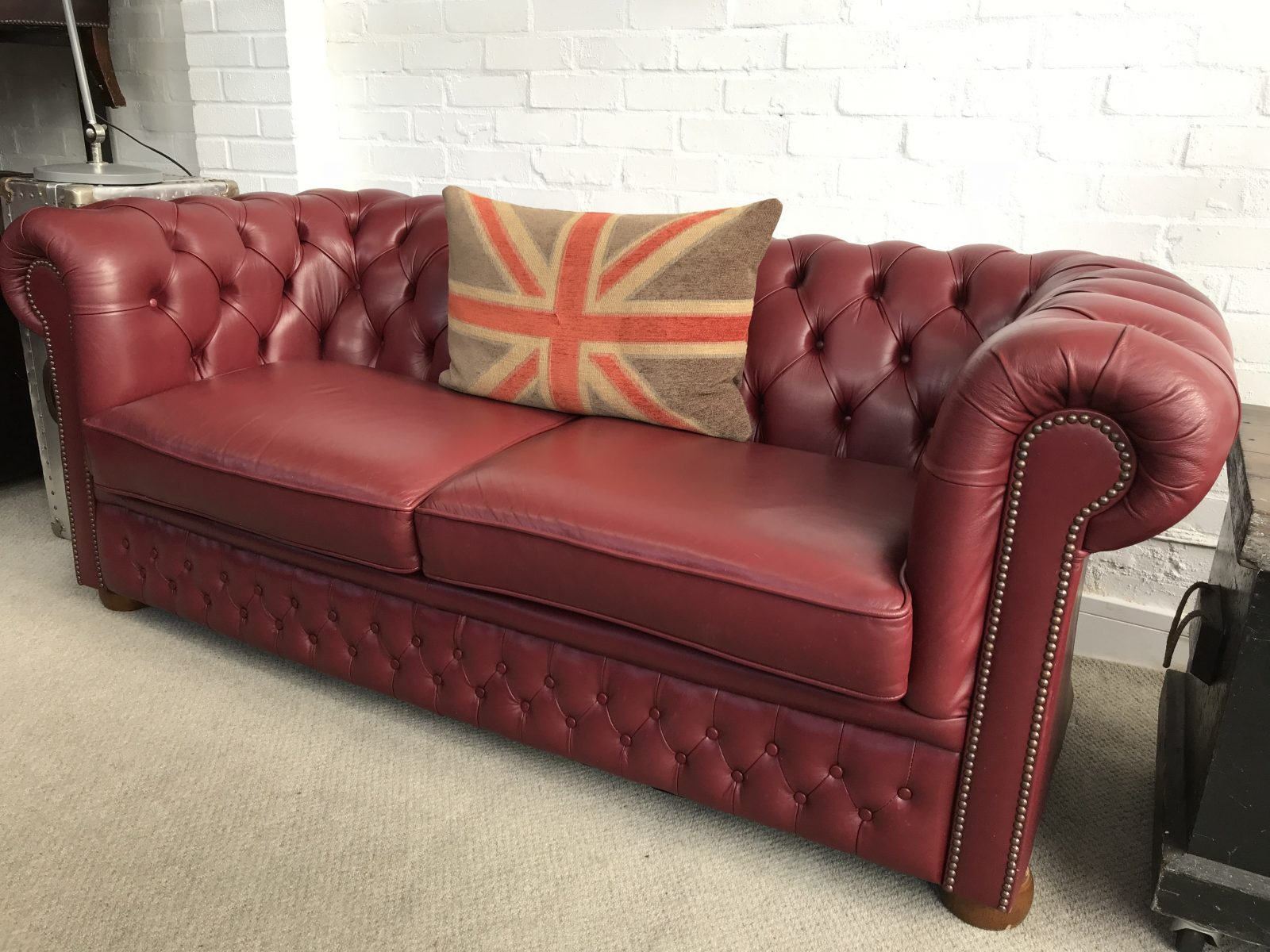 Stunning Burgundy 3 seater Chesterfield Sofa      Chesterfields at the     Stunning Burgundy 3 seater Chesterfield Sofa