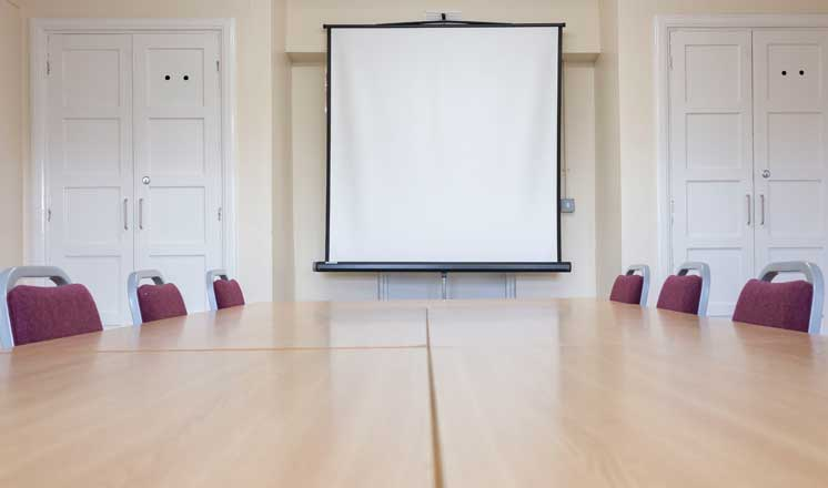 A projector set up in the Meeting Room at Hasland Village Hall.