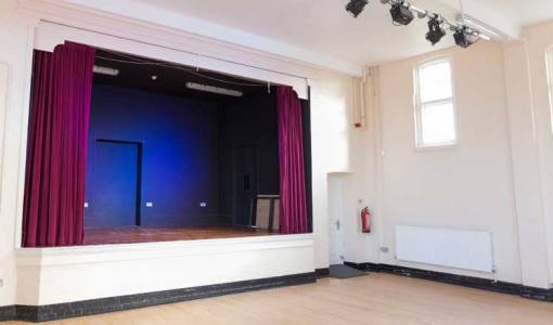 The stage in the Main Hall at Hasland Village Hall.