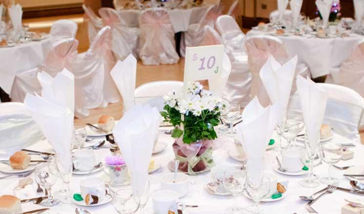 The Winding Wheel ballroom set up for a wedding reception.