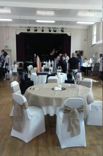 The Main Hall at Hasland Village Hall set up for a wedding reception.