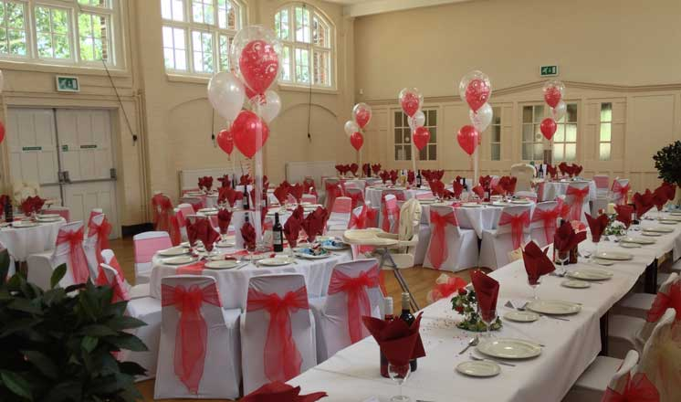The Main Hall at Hasland Village Hall set up for a wedding r.eception