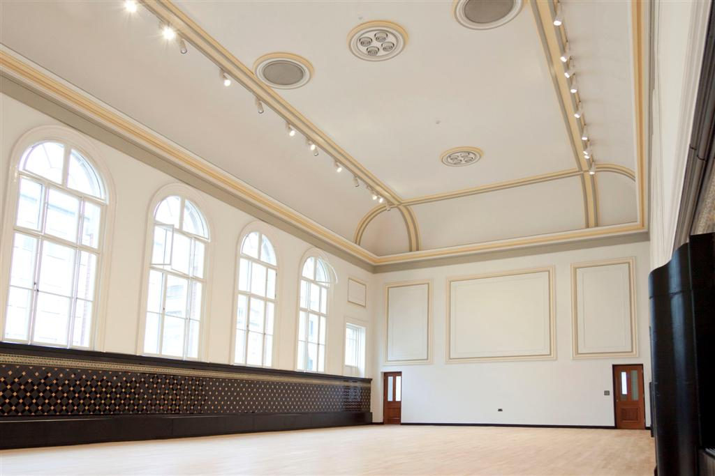 The high-ceilinged Main Hall at the Assembly Rooms in Chesterfield.