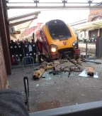 The Virgin Trains service after shattering a glass barrier on the platform Wednesday 20 November. ©Jake Pickering