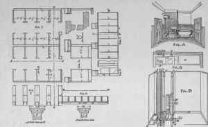 Part II  Gentlemen's ToiletRoom, Plan, Elevation, Section And Diagram Of Urinals And Closets