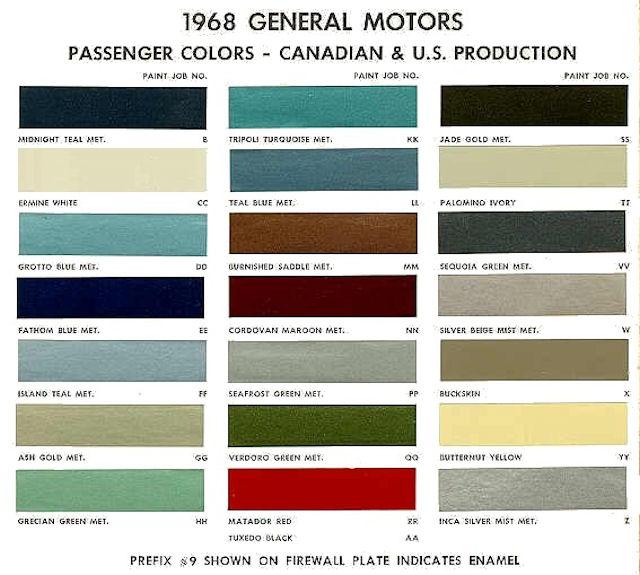 64 Code Paint Color Chevelle