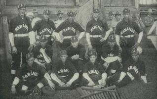 These Marines stationed in the Philippine Islands around the turn of the 20th century, pose for a photo in their baseball uniforms. The design of these flannels are somewhat plain and on par with the WWII versions.