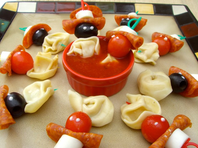 Pasta Pirates are easy to assemble for a Halloween snack.