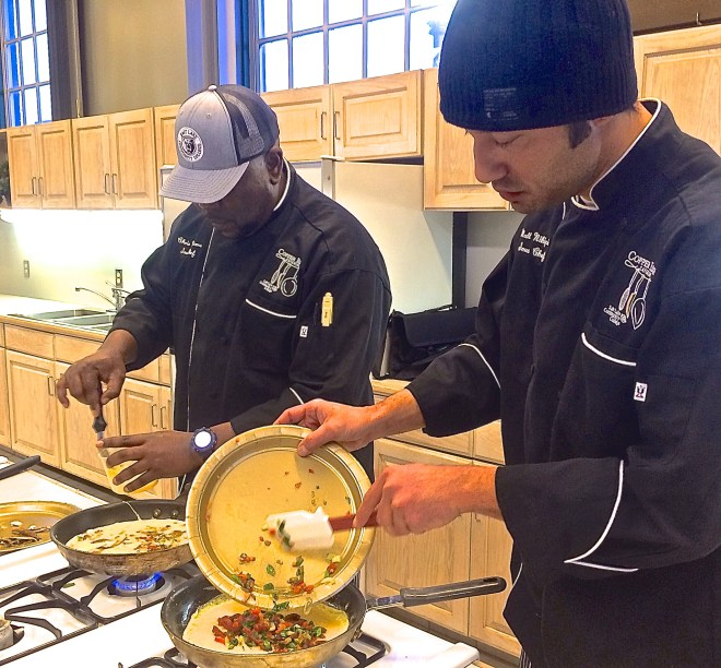 Chris Williams (left) and Matt Nihipale, sous chefs with Salt Lake Community College, competed in Utah's First Annual Omelet Cook-Off at the Utah State Fairpark March 20.