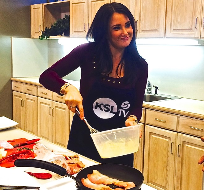 Haley Smith of KSL shows off her whisking skill as at Utah's First Annual Omelet Cook-Off at the Utah State Fairpark last Friday.