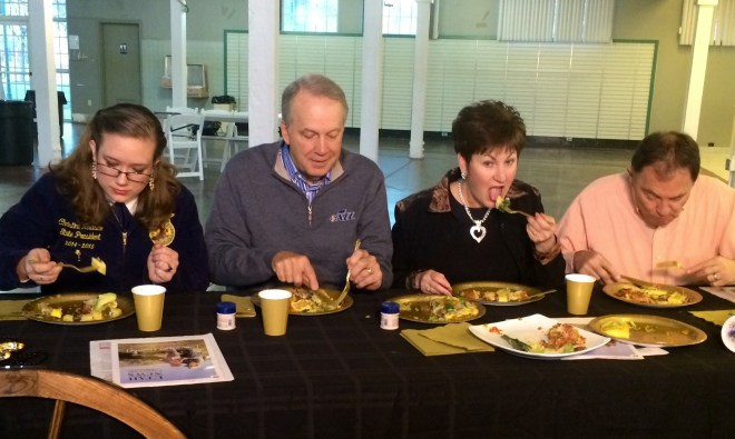 The omelets were judged by (left to right) State FFA President Christina Nolasco, Utah Jazz President Randy Rigby, LuAnn Adams of the Utah Department of Agriculture & Food Commissioner,  and Utah Governor Gary Herbert.