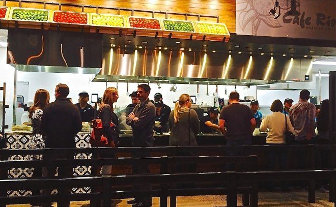The assembly-line style of ordering is still part of the Cafe Rio experience.
