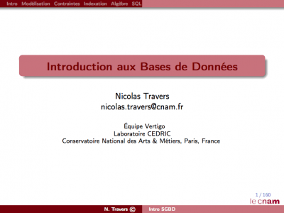 Introduction aux Bases de Données - Transparents