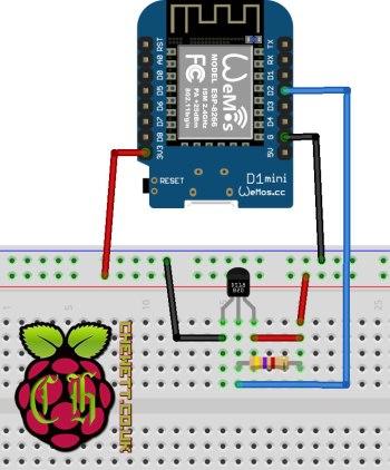 Using the DS18B20 Temperature Sensor with a WeMos D1 Mini (ESP8266