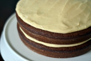 Chocolate Stout Layer Cake with Baileys Spiked Cream Cheese Frosting