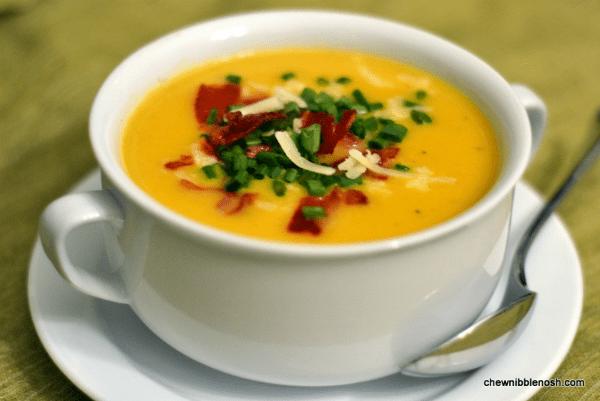 Apple Cheddar Squash Soup - Chew Nibble Nosh