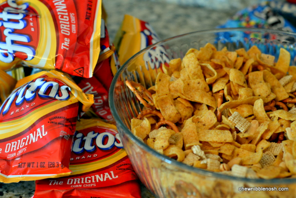 sweet salty frito snack mix chew nibble nosh