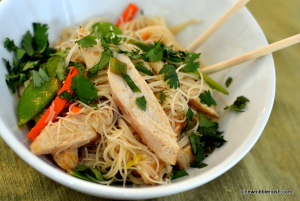 Thai Noodles with Chicken and Vegetables - Chew Nibble Nosh