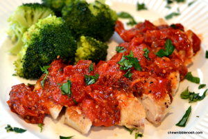 Chicken with Herb Roasted Tomato Sauce - Chew Nibble Nosh