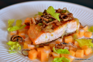 Salmon with Cantaloupe and Fried Shallots - Chew Nibble Nosh