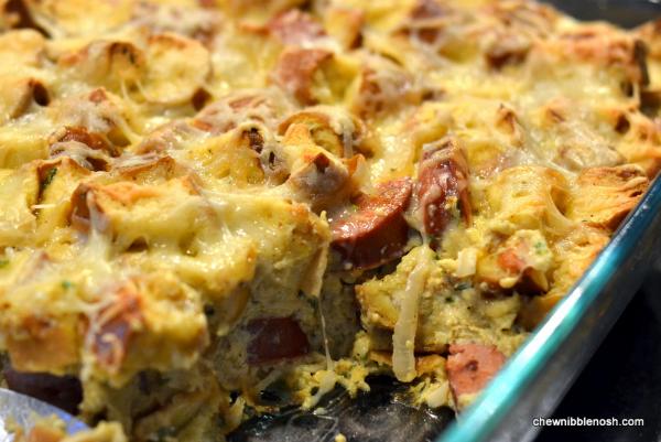 Kielbasa and Pretzel Breakfast Bake 6 - Chew Nibble Nosh