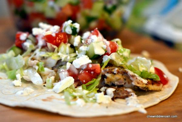 Greek Fish Tacos with Cucumber Salsa and Garlic Yogurt Sauce - Chew Nibble Nosh