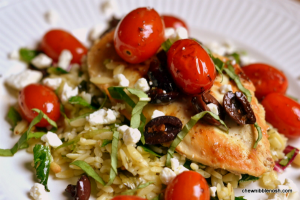 Kalamata-Balsamic Chicken with Feta and Orzo - Chew Nibble Nosh