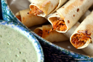 Baked Honey Lime Chicken Taquitos with Cilantro Lime Cream - Chew Nibble Nosh