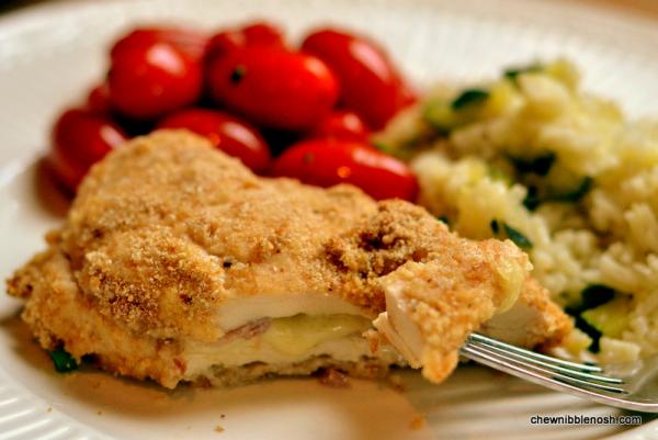 Easy Chicken Cordon Bleu with Zucchini Lemon Rice  - Chew Nibble Nosh