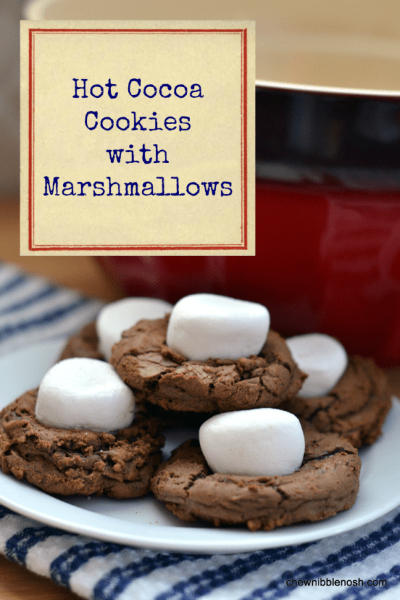Hot Cocoa Cookies with Marshmallows - Chew Nibble Nosh