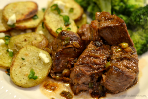 Steak Tips with Feta Roasted Potatoes - Chew Nibble Nosh