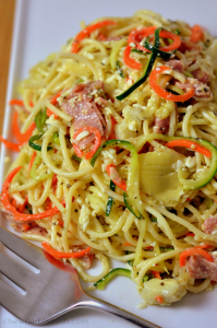 Spiralized Italian Pasta Salad - Chew Nibble Nosh.