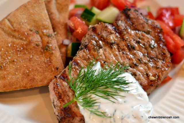 Grilled Pork Chops with Tomato-Cucumber Relish and Yogurt Dill Sauce - Chew Nibble Nosh