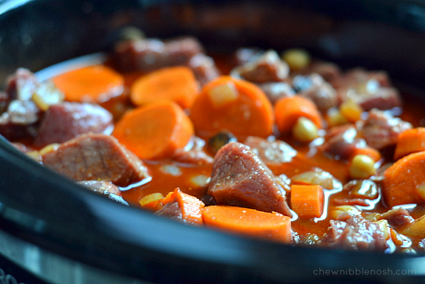 Slow Cooker Moroccan-Spiced Beef Stew - Chew Nibble Nosh