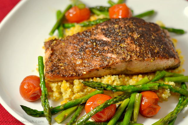 Za'atar Salmon with Vegetables and Couscous - Chew Nibble Nosh