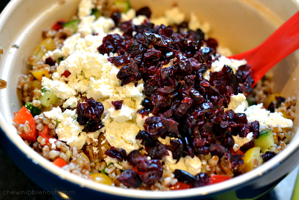 Greek Wheat Berry and Veggie Salad - Chew Nibble Nosh 6