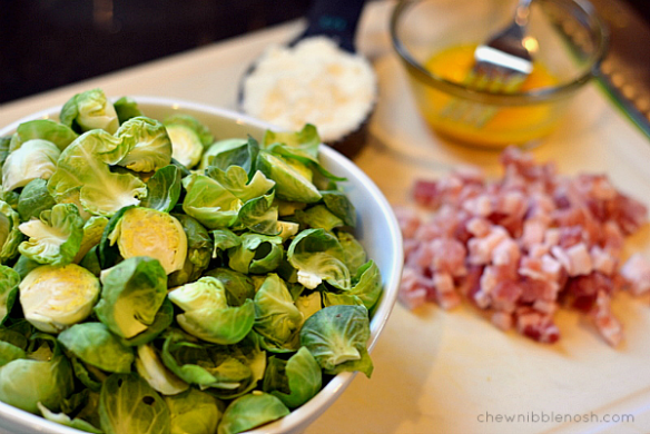 Orcchiette Carbonara with Brussels Sprouts - Chew Nibble Nosh 1