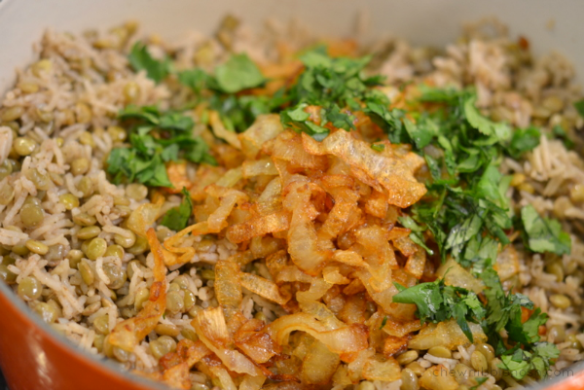 Mujaddara - Rice and Lentils with Crispy Onions - Chew Nibble Nosh 9