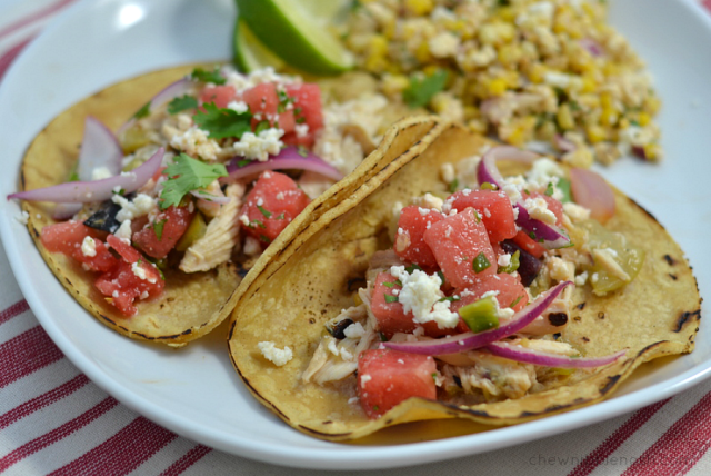 Easy Chicken Tacos with Fresh Watermelon Salsa - Chew Nibble Nosh
