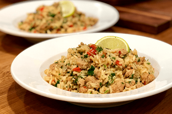 Chimichurri Ground Turkey and Rice | Quick, easy and delicious, this Chimichurri ground turkey and rice comes together in one pan!