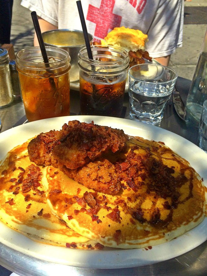 Good ol' Fried Chicken n' Waffles with Bacon and Maple Syrup