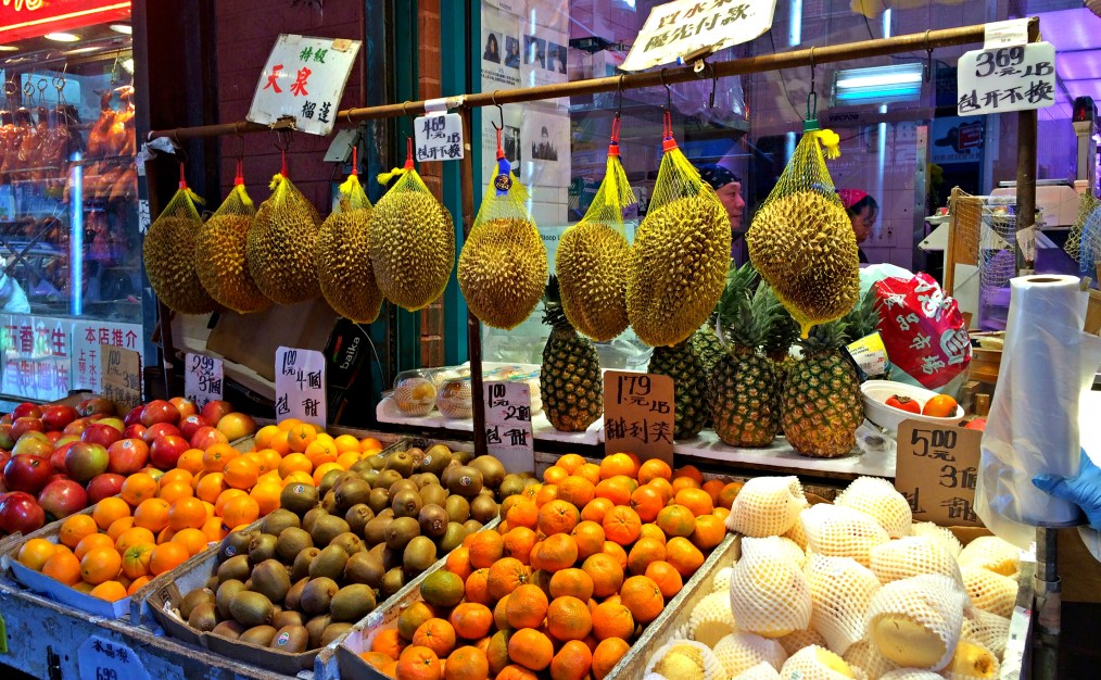 Hanging durian fruits