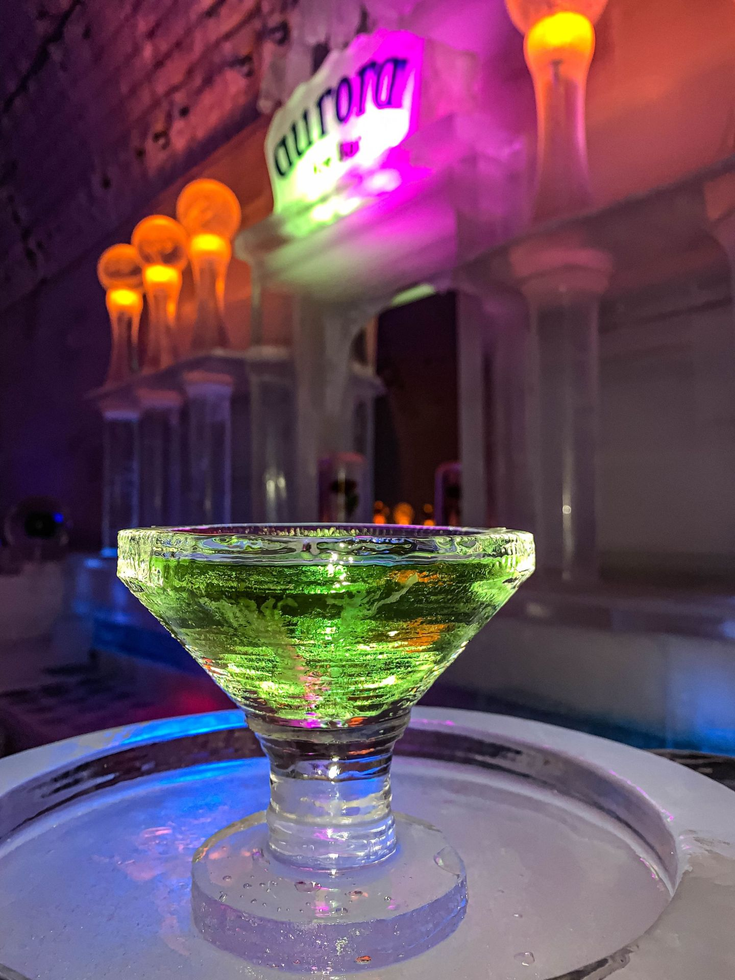 An appletini cocktail is the drink to get at Chena Hot Springs Resort's ice museum.