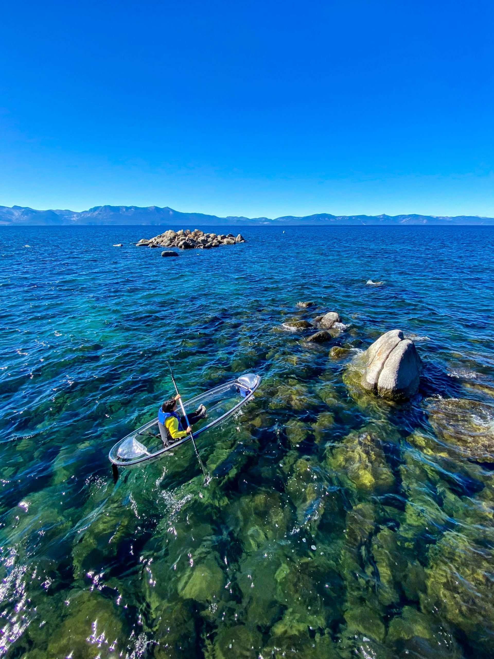 An unreal way to spend the day on Lake Tahoe: in a clear kayak with Clearly Tahoe!