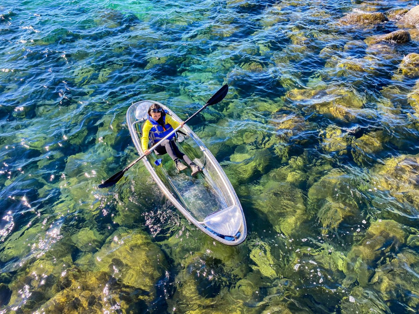 An unreal way to spend the day on Lake Tahoe: in a clear kayak!