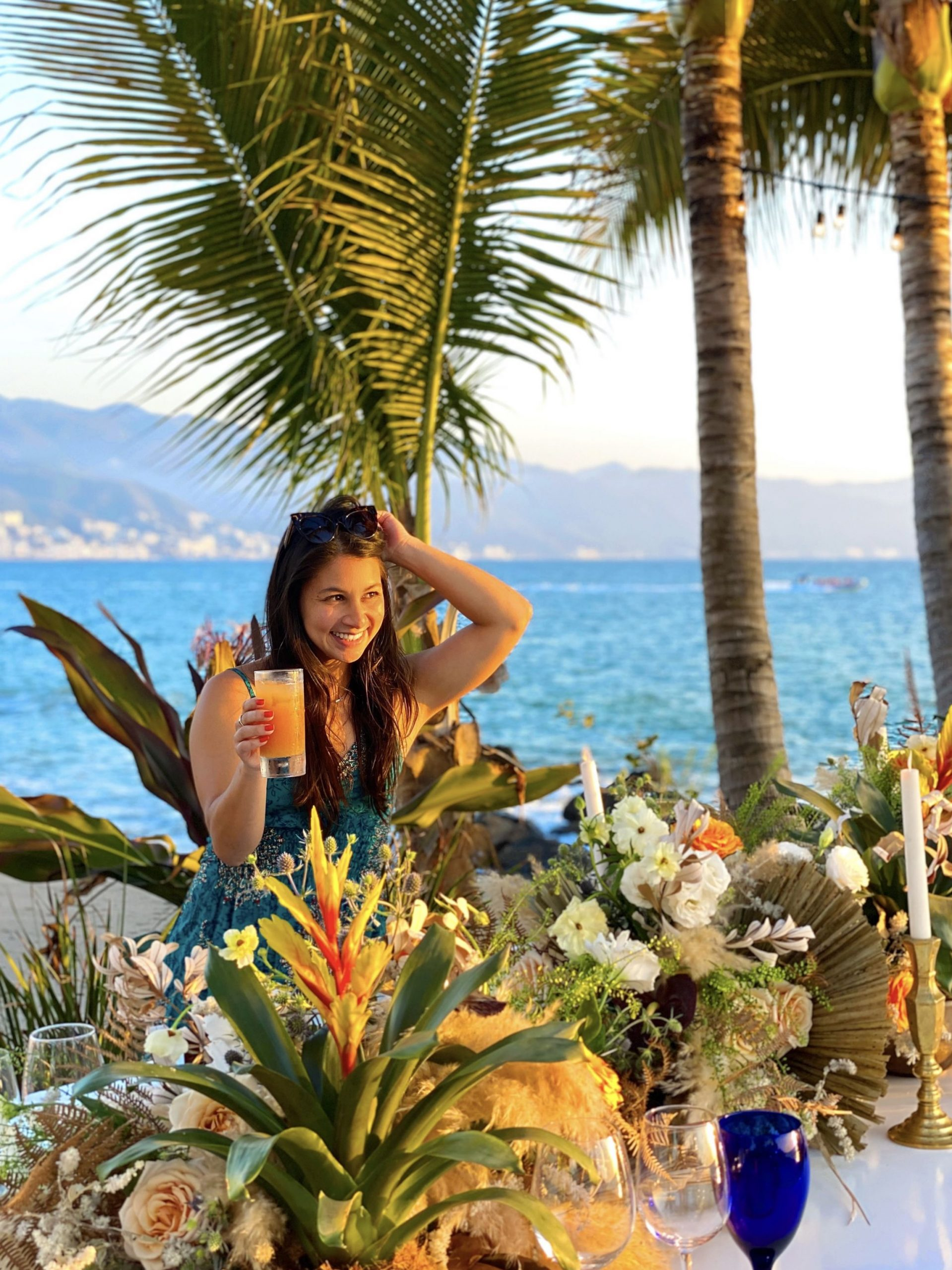 Floral beach dinner in Puerto Vallarta, Mexico.
